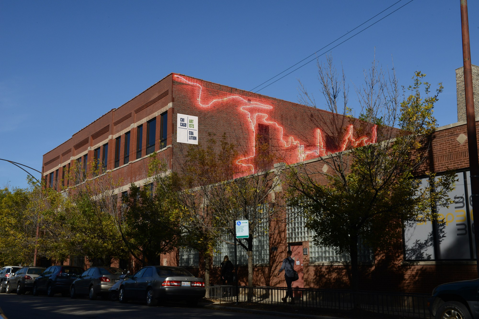 "The new Chicago Artists Coalition facility at 2130-40 West Fulton Street with the hypothetical rendering of artwork, ""Seep"" by artist Erik L. Peterson"
