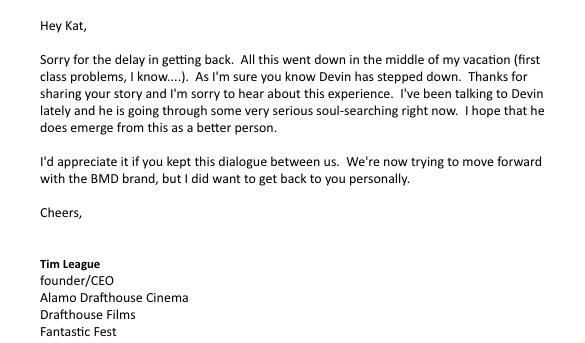 E-mail text courtesy Kat Arnett and  The Daily Beast .