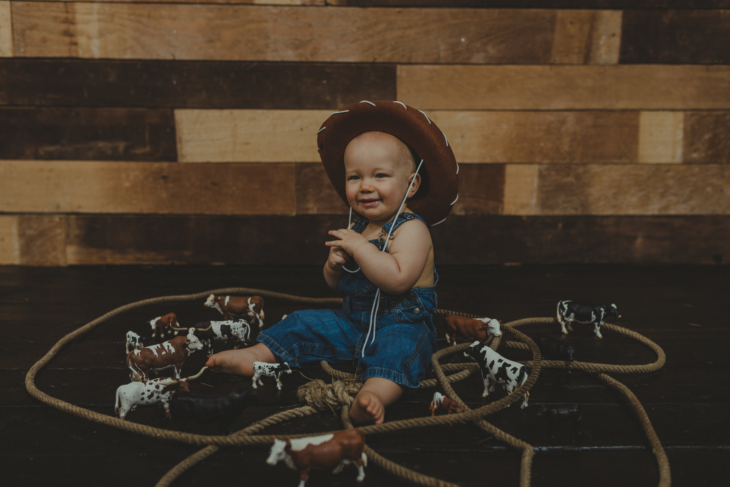 Cowboy, farm one year photo shoot