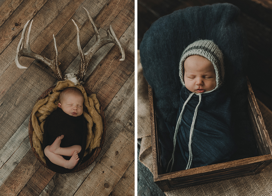 Rustic Farm Newborn Boy Studio Session | Terry Farms Photography