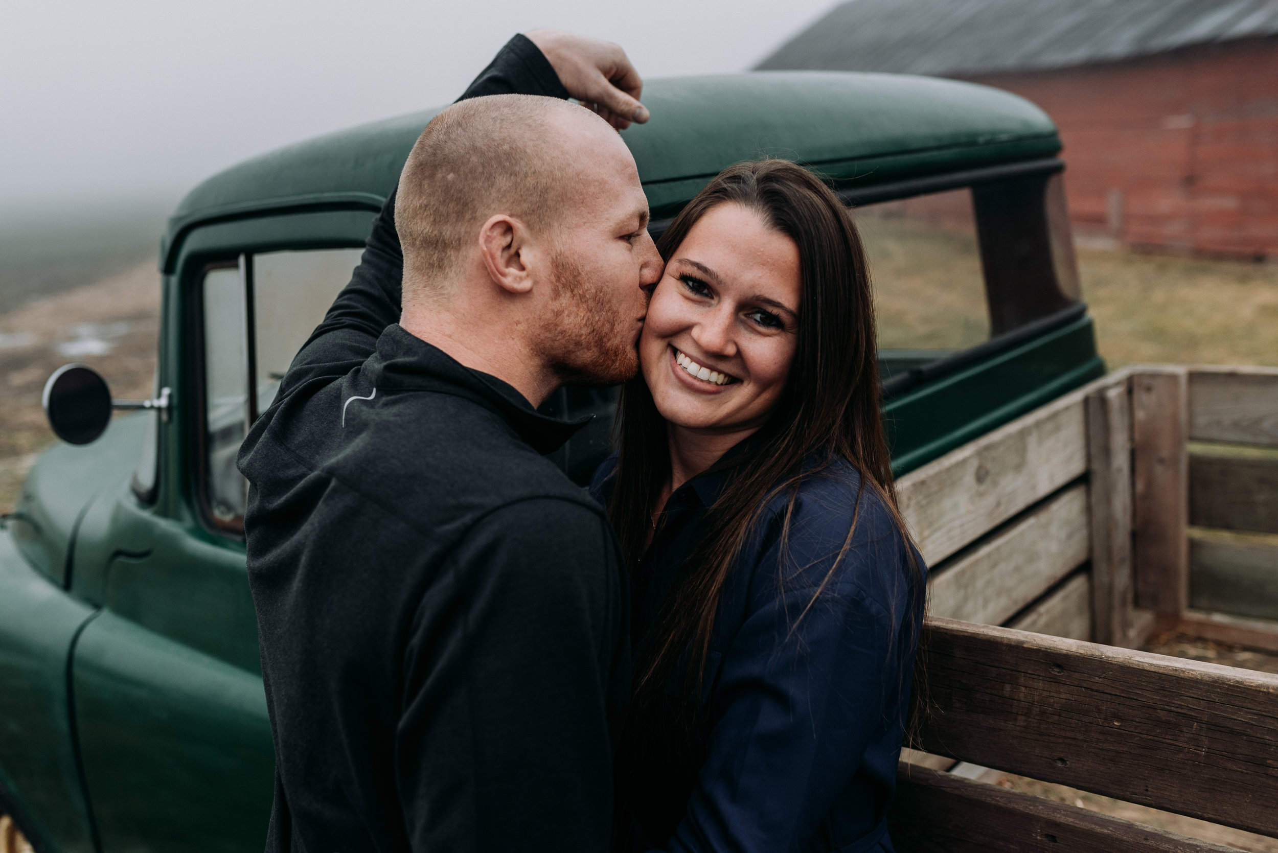 Rustic Farm Engagement Photo Session | Fog  [Terry Farms Photography]