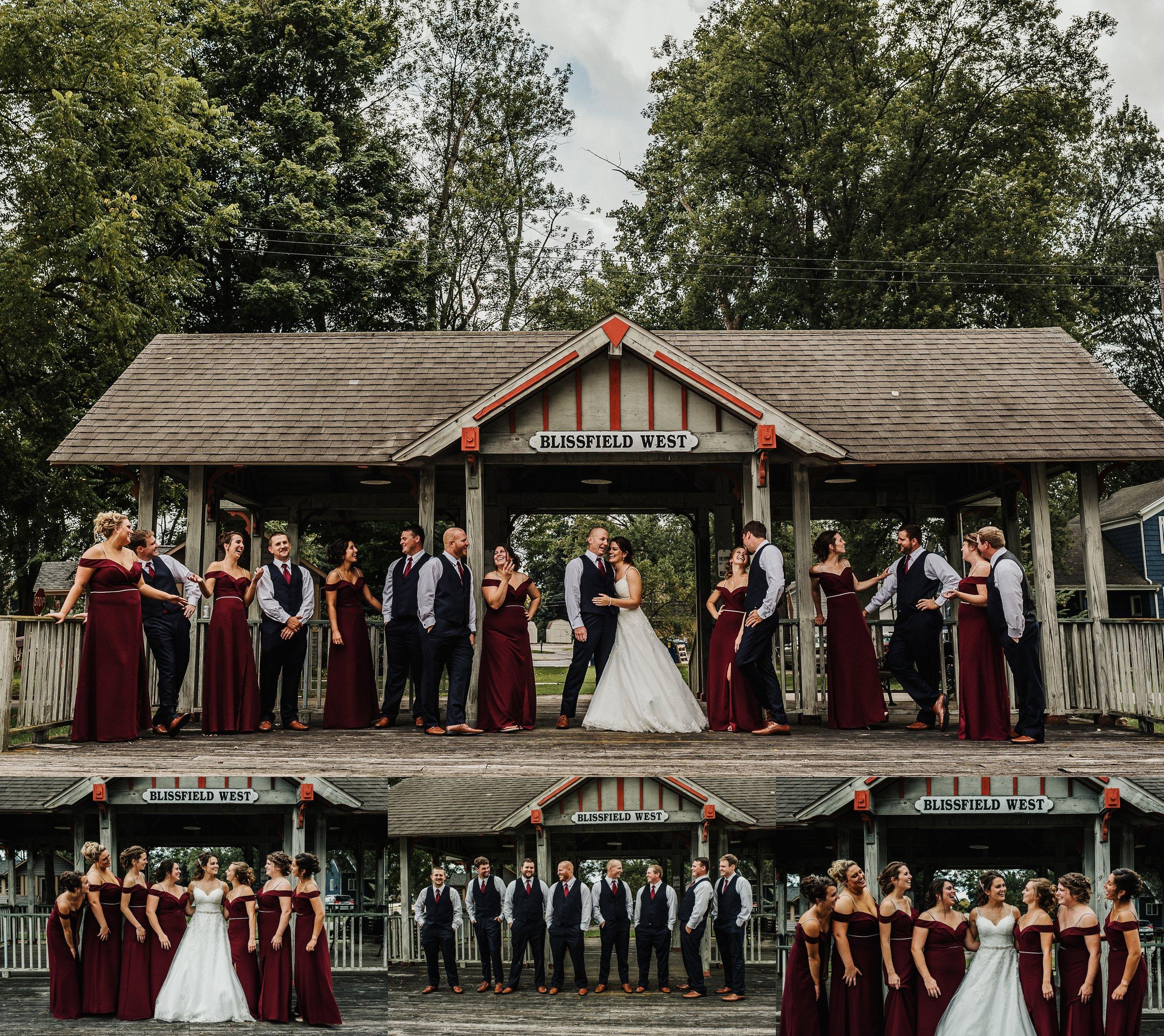 Wedding party at train depot
