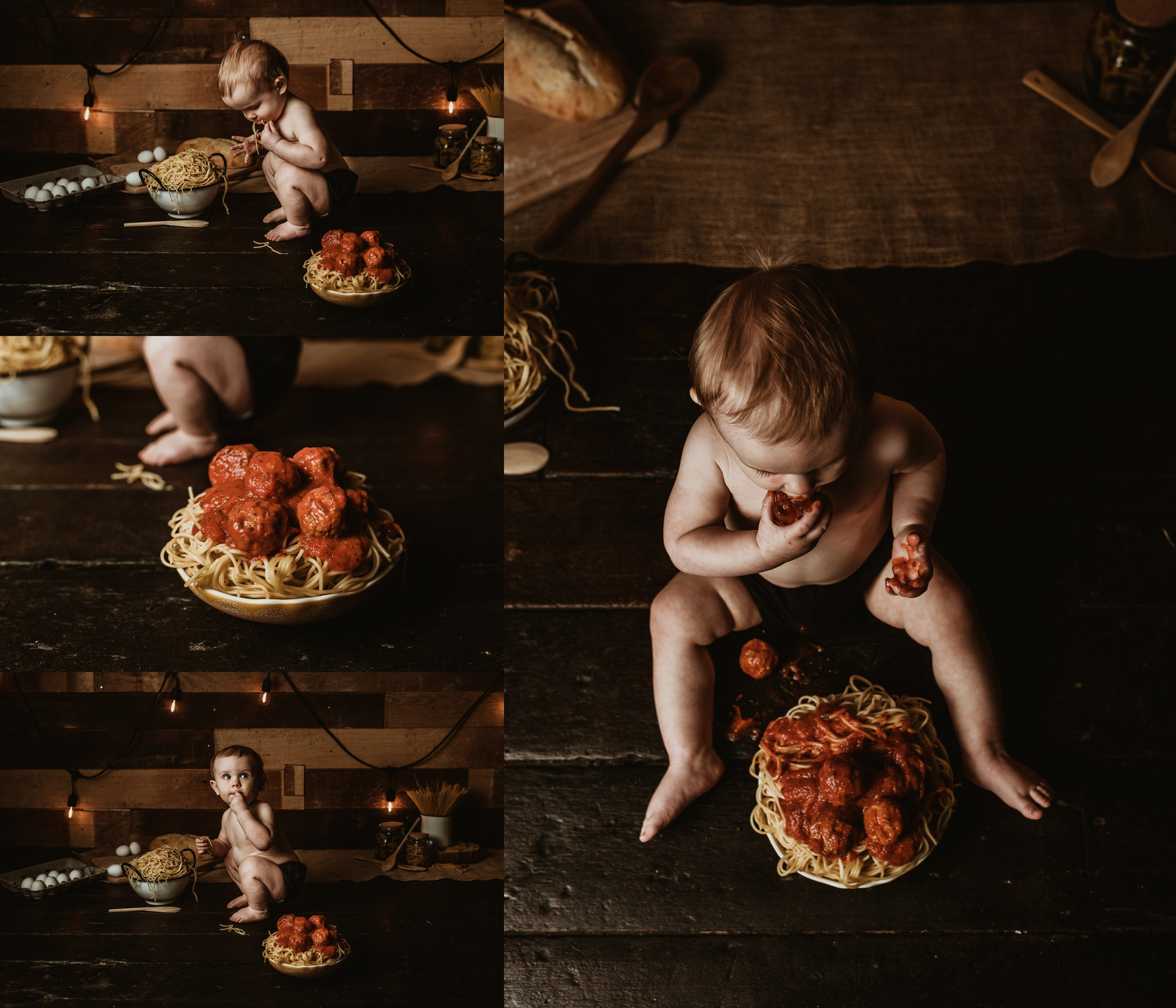 Spaghetti Smash | One Year Birthday Photo Session