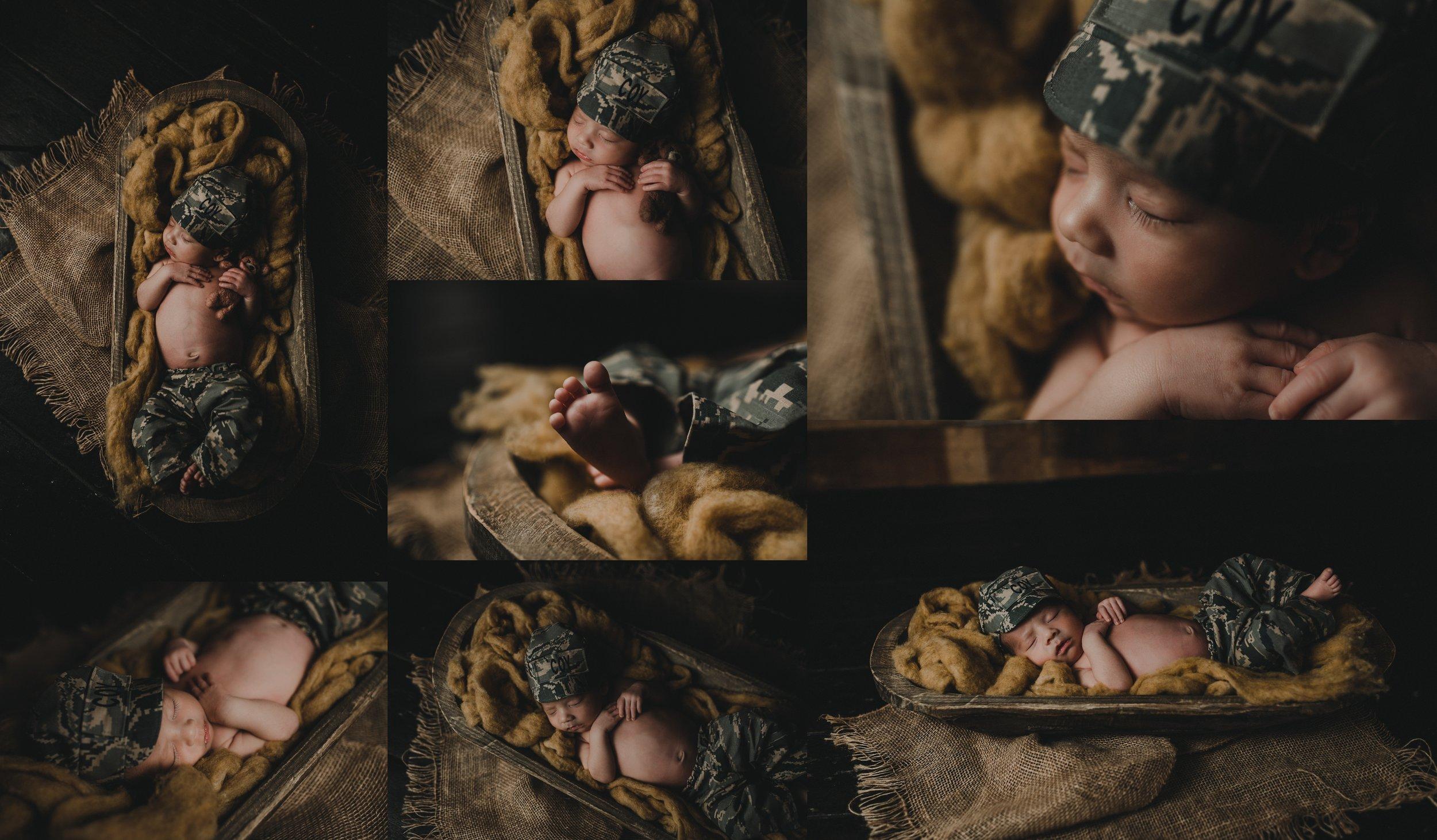 Rustic Newborn Photo Session | Baby Boy | Farmhouse Newborn Studio Session | Military Baby Boy | Terry Farms Photography