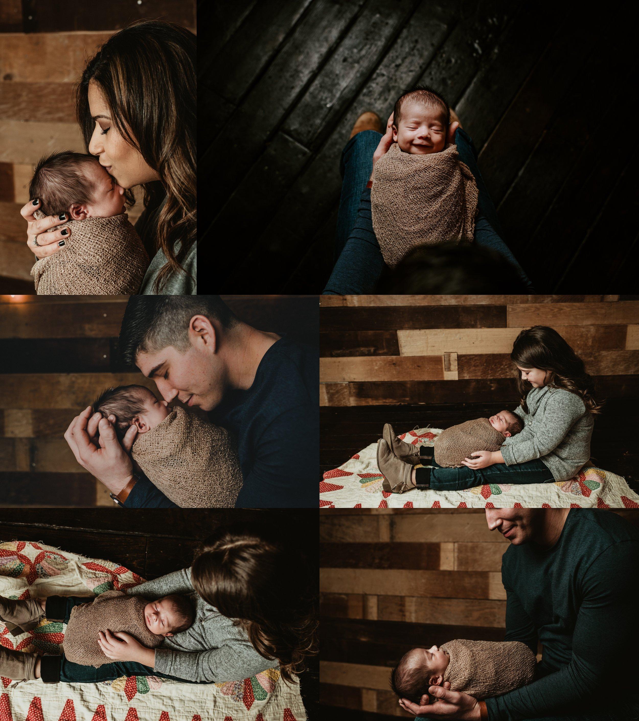 Rustic Newborn Photo Session | Baby Boy | Farmhouse Newborn Studio Session | Family Photos | Barn wood | Terry Farms Photography