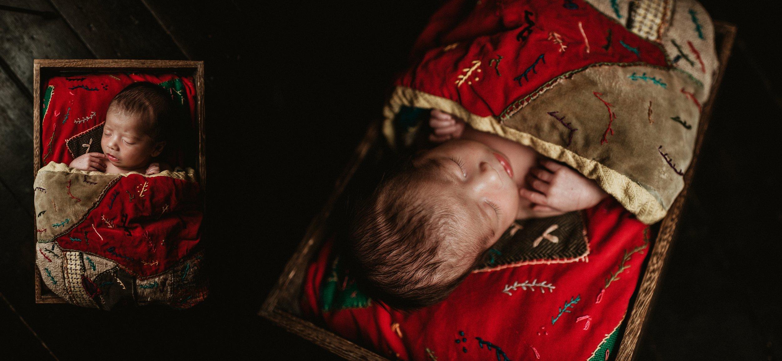 Rustic Newborn Photo Session | Farmhouse Newborn Studio Session | Vintage Baby Boy Session | Terry Farms Photography
