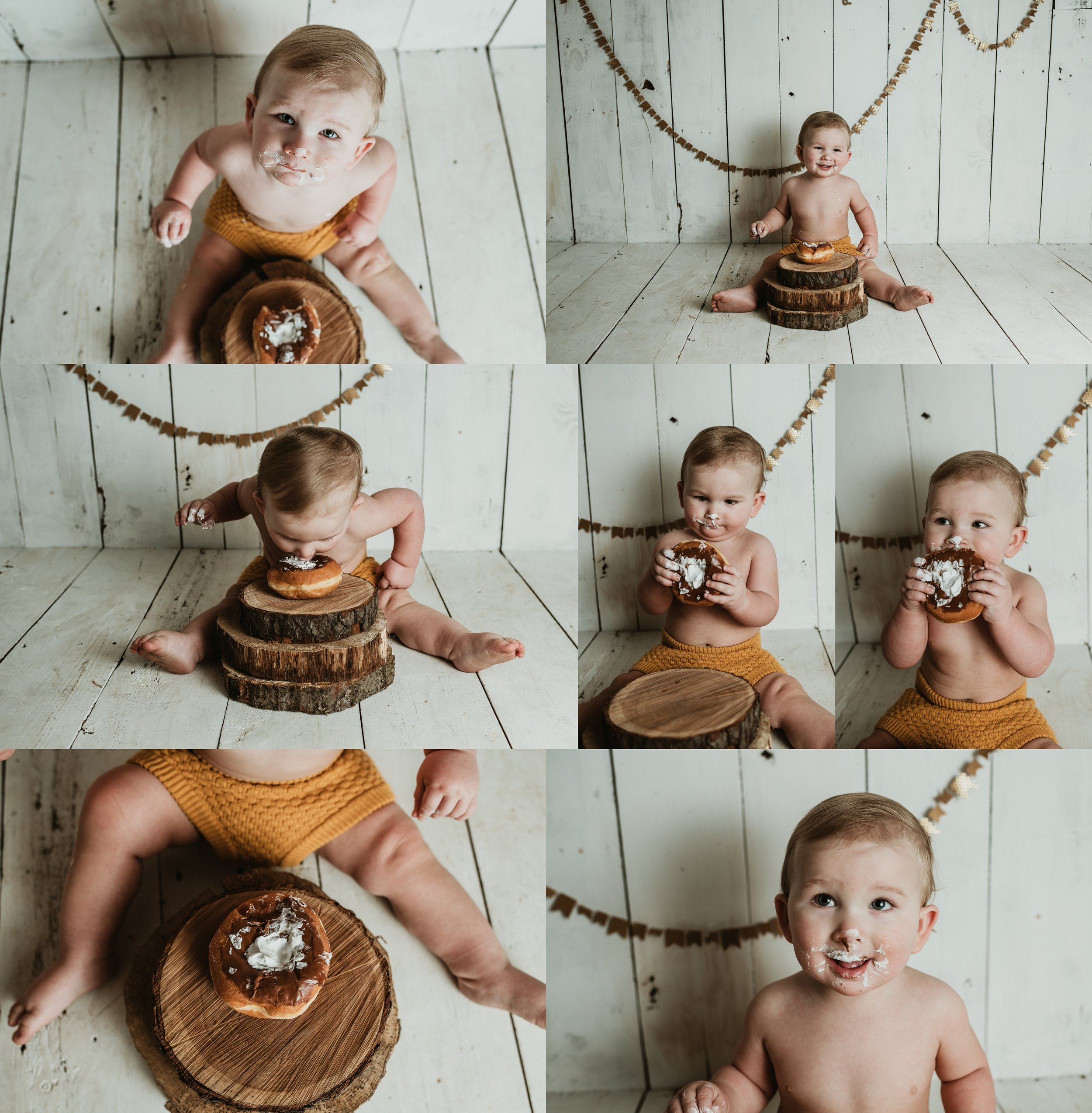 Donut Smash | One  Year Photos | Baby Boy Photos | Farmhouse Birthday Photo Shoot | Rustic, Vintage Little Boy Photos | Terry Farms Photography | Michigan & Ohio Photography