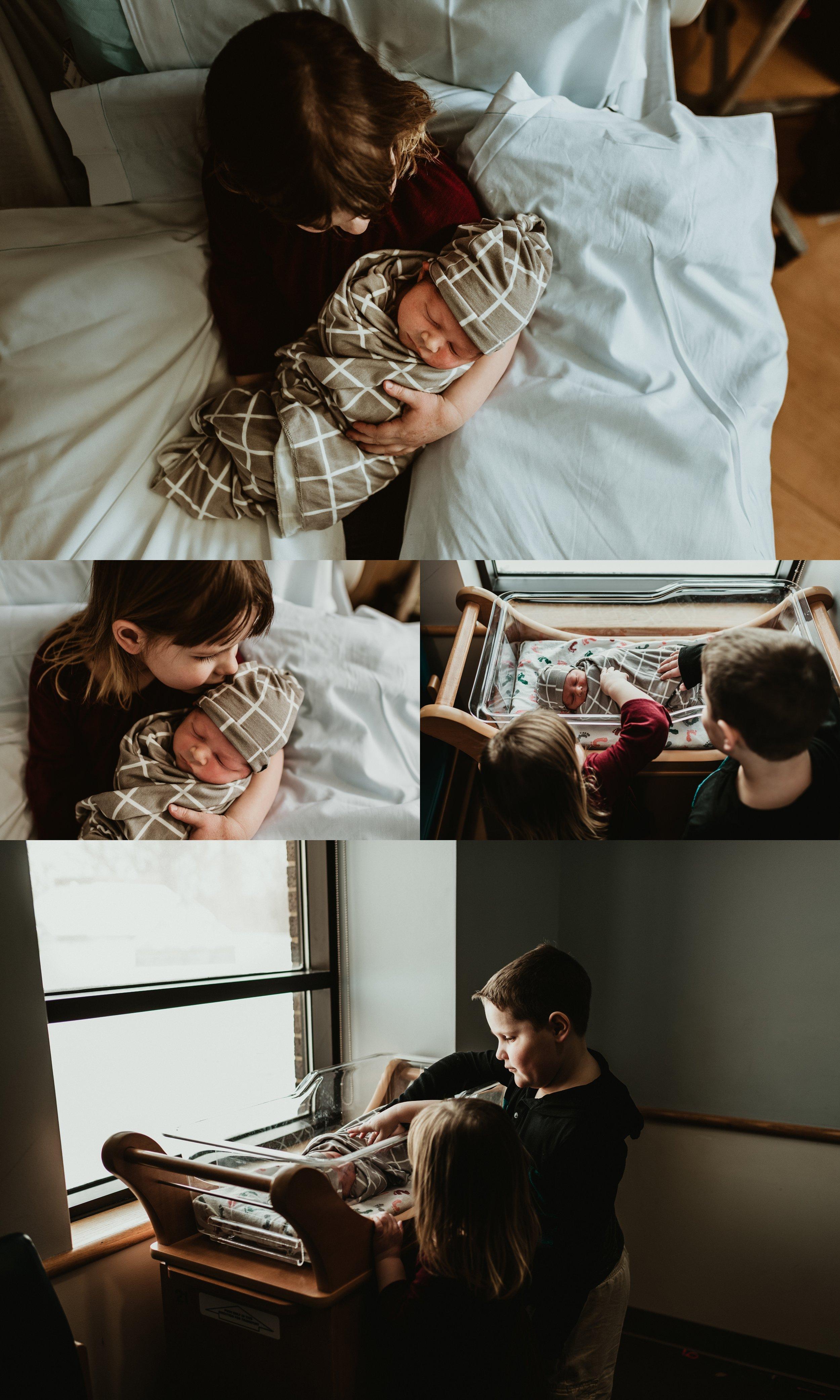 Fresh 48 Newborn Hospital Photo Session | Documentary & Lifestyle Newborn Photo | Baby Boy  | 20 Hours Old | Big Sister with New Baby