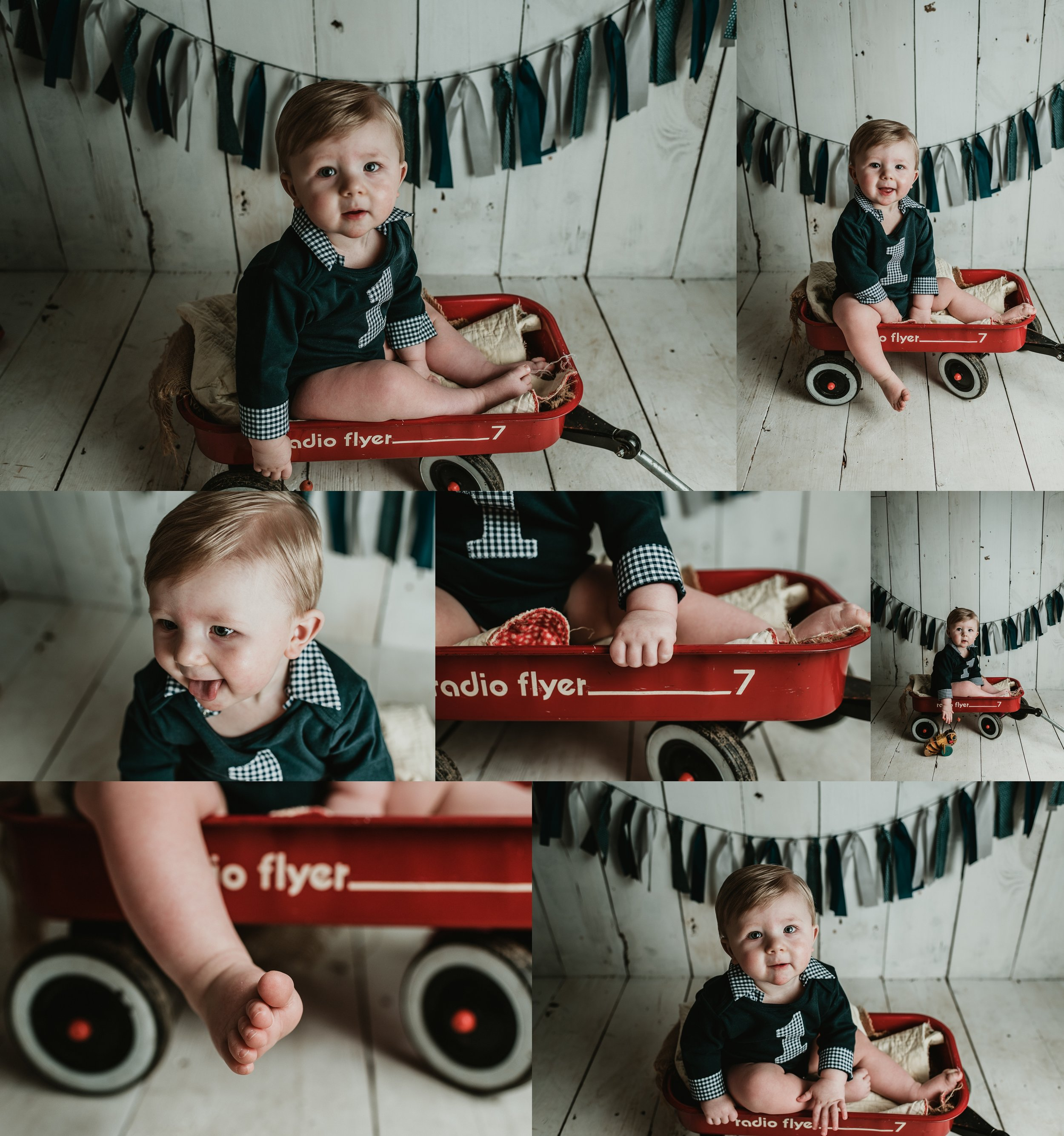 One Year Photo Session | White Wash Wood Wall | Radio Flyer Vintage Photo | Terry Farms Photography