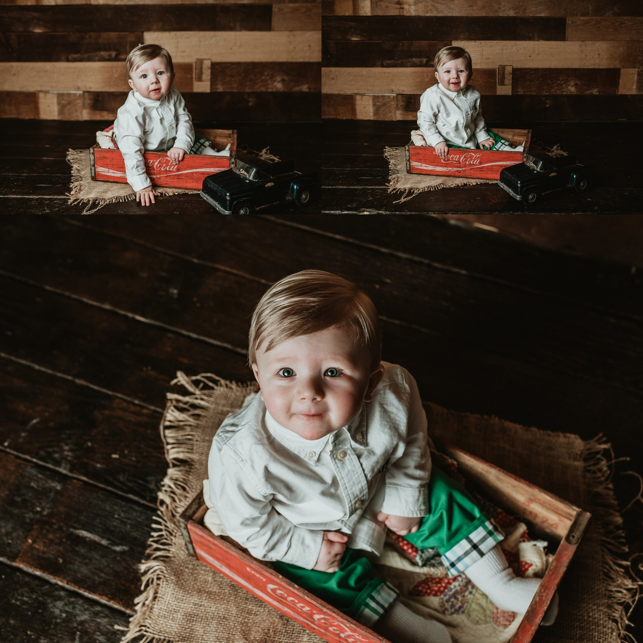 Rustic One Year Photo Session | Barn Wood Wall | Terry Farms Photography | Vintage Little Boy Session
