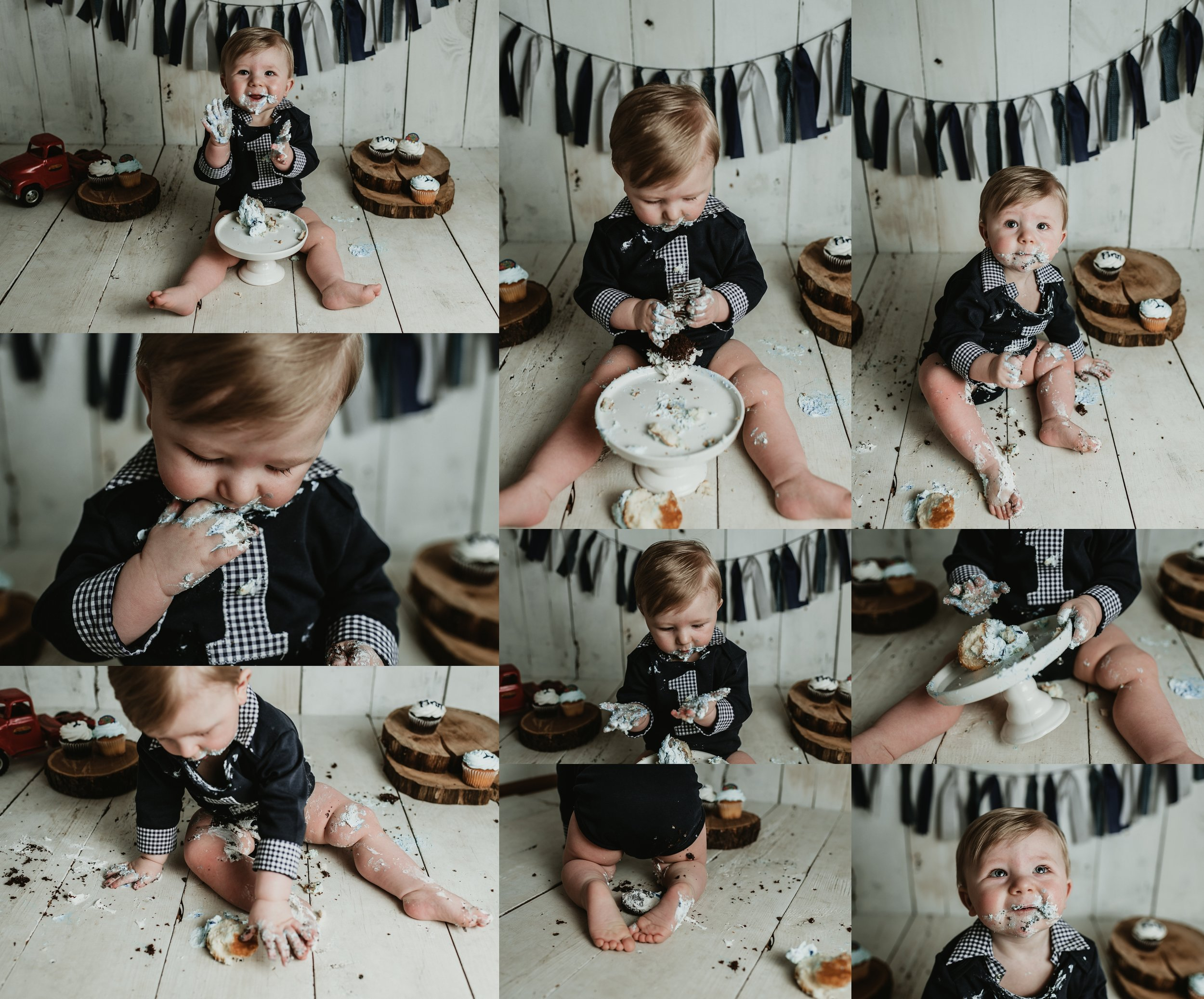 One Year Cake Smash | Rustic Vintage Barn Wood Cupcake Smash | Terry Farms Photography