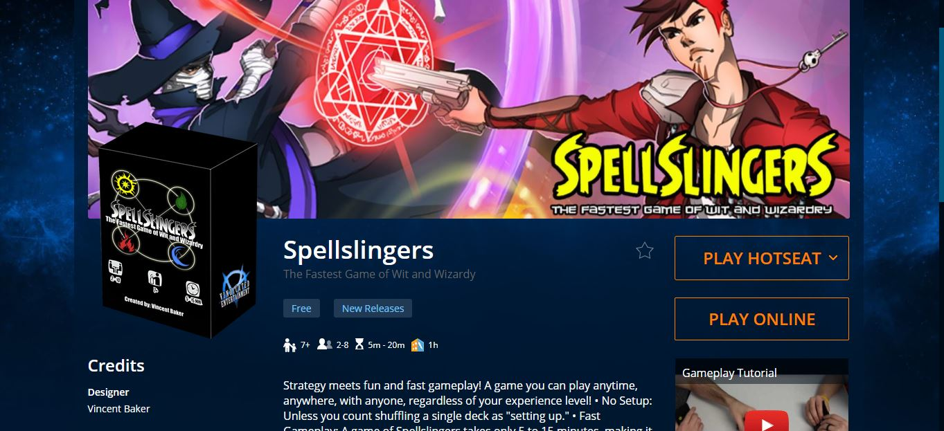 Spellslingers is now on Tabletopia! Hop online and play a game or two, or three!