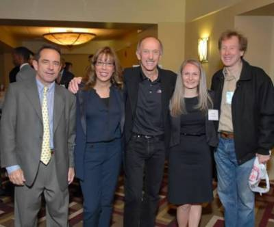 Dreamfar Breakfast of Champions (from left), Dave McGillivray, Jamie Chaloff, Jack Fultz, Mary Kennedy and Bill Rodgers.