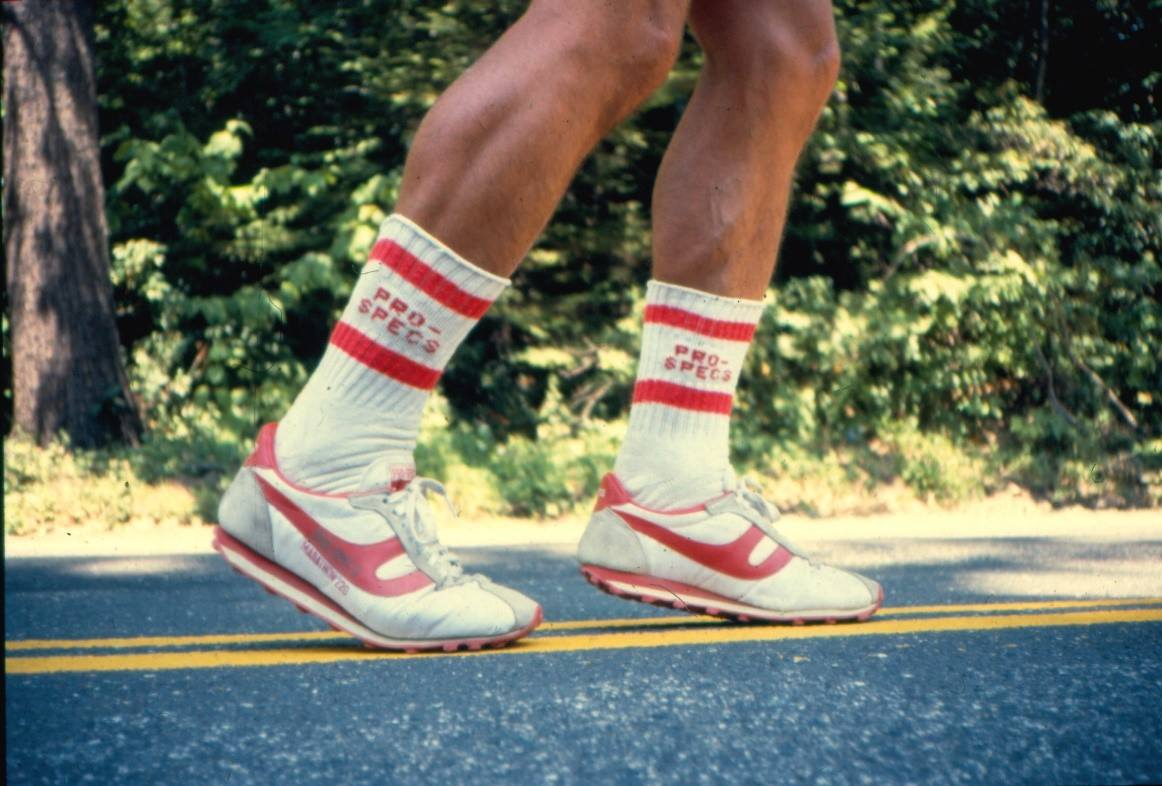 Pro Specs – my sponsor so I had to wear their shoes, which I had never worn until I took my first step on this run!! They were so stiff that my dad used a saw to cut grooves in the bottom of the shoes so they would bend for me!