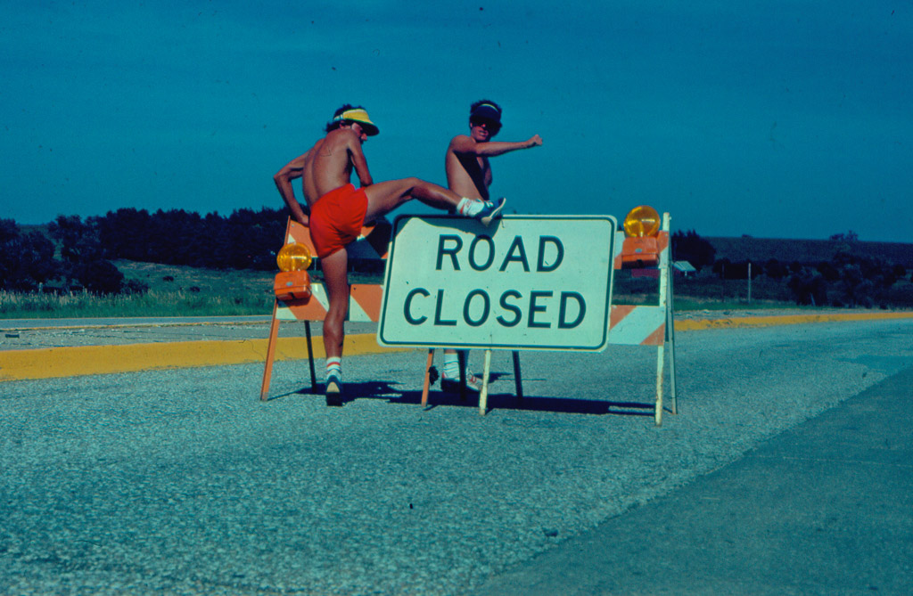Road may have been closed to automobiles but not to cross country runners!