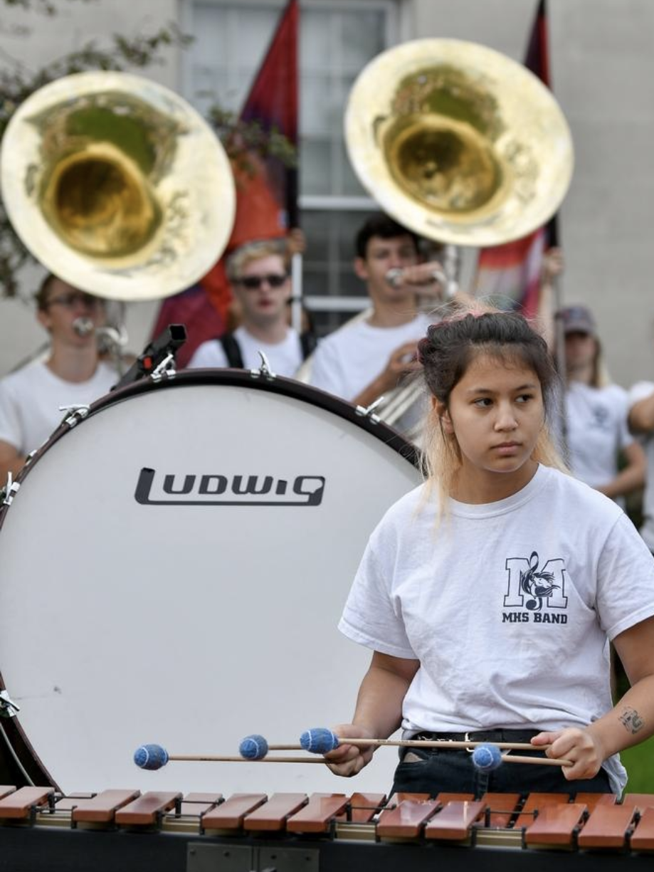 Gabrielle Yamamoto plays the marimba with the Medford High School band during a pre-run celebration at Medford City Hall for Dave McGillivray, who is running from Medford City Hall to Fenway Park to commemorate his 40th Anniversary of running from Medford, Oregon to Medford, MA to raise money for the Jimmy Fund, on Thursday, Aug. 23, 2018. [Wicked Local Staff Photo / David Sokol]