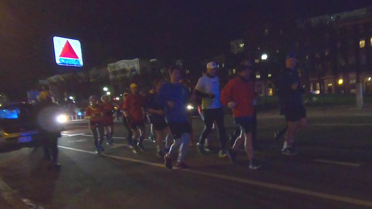 "Dave McGillivray and crew along the course of their ""Night Shift"" Boston Marathon run.  PAT HEINE"