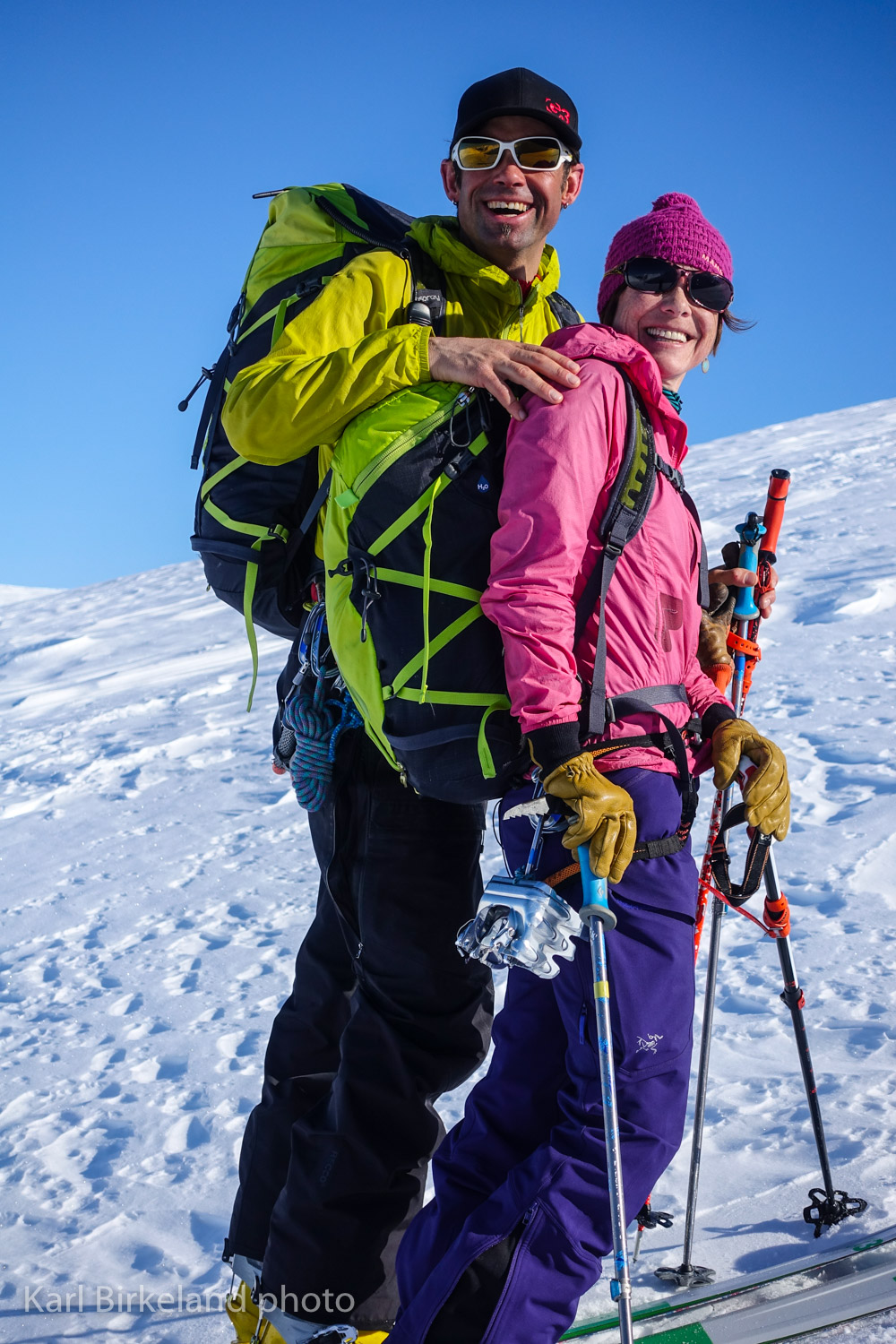 Joe and Cathy skiing in the Kenai Mountains near Anchorage.