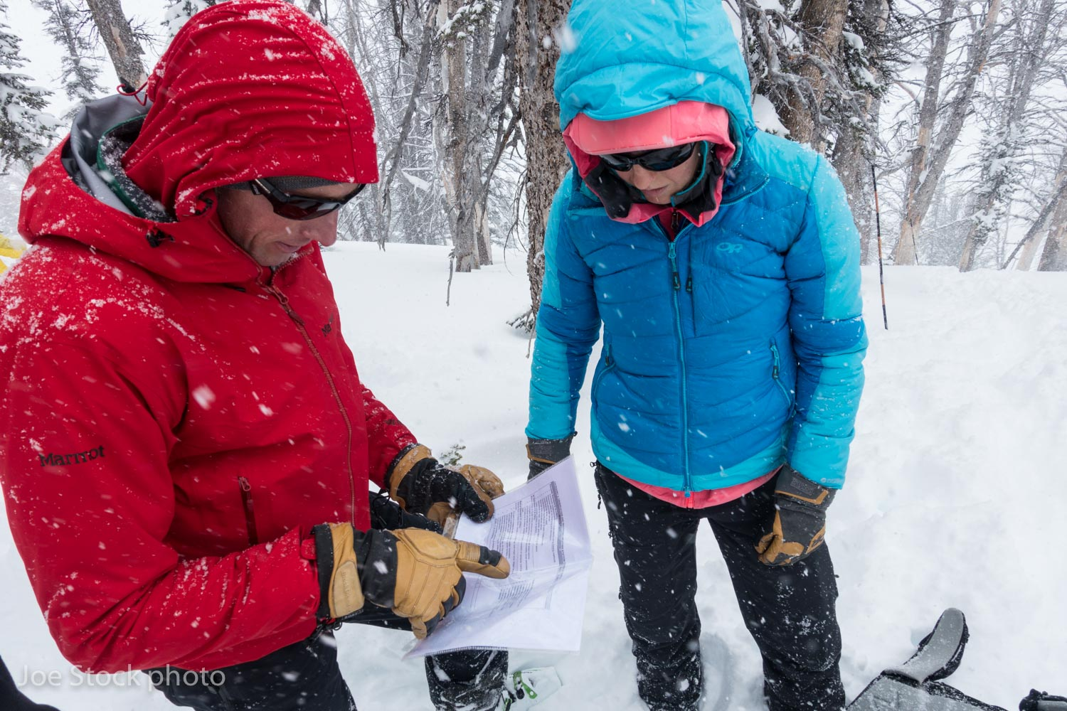 American Avalanche Institute owner Don Carpenter and IFMGA Mountain guide Erica Engle check the grading rubric for weather study plot observations during the AAA pro training course in Jackson