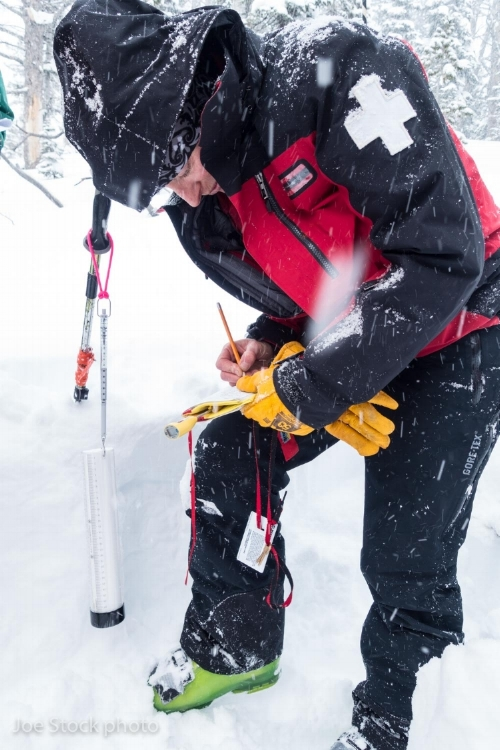 Jackson Hole ski patroler Lisa Van Sciver writes down snow density measurements.
