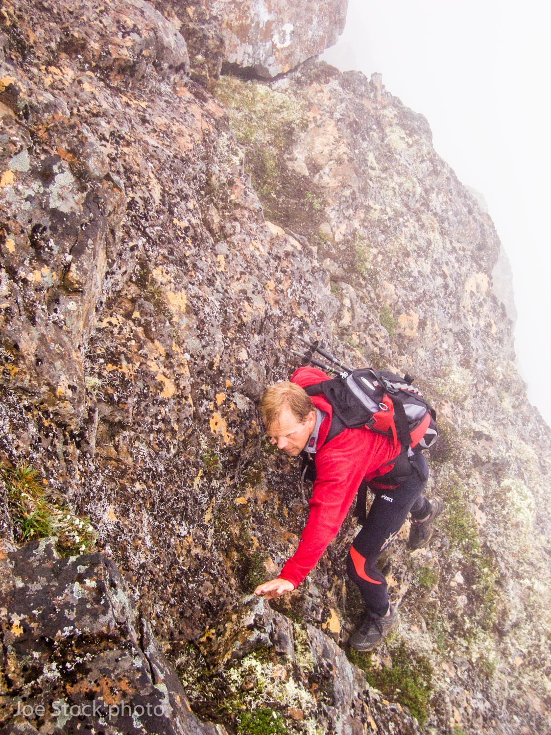 Other portions of the ridge have exposed scrambling. A difficulty of the linkup is learning if each section of the ridge is better traversed or avoided. Fog can help, making exposed portions less fearsome by hiding the abyss for Trond Jensen.
