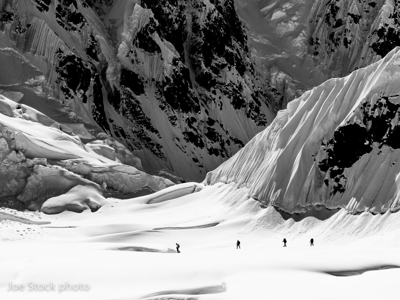Touring near Denali base camp at 7,000 feet on the Kahiltna Glacier.