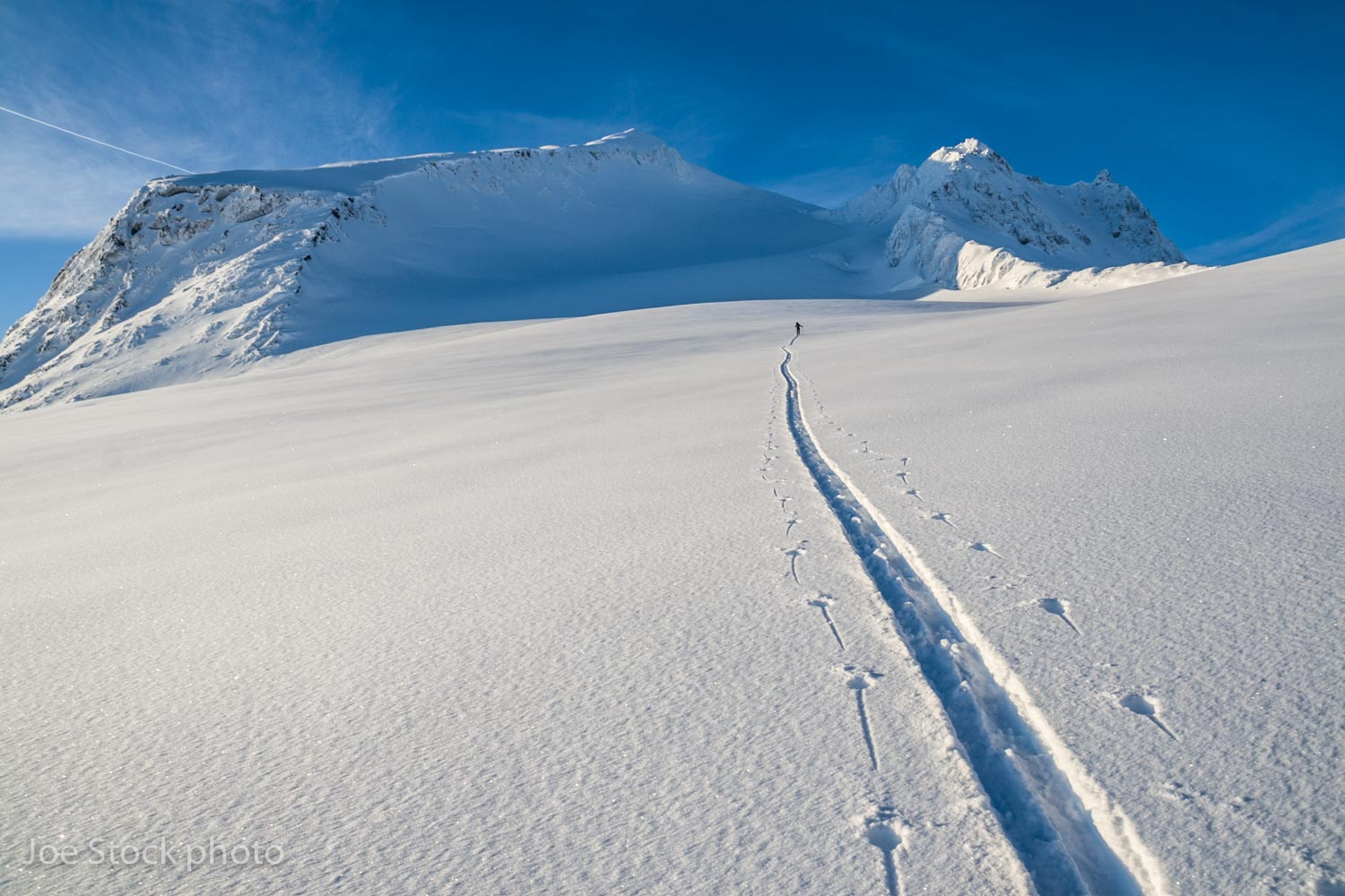 Cathy and Max touring toward Girls Mountain (6,154'). Our turns off the summit were impeccable, 45-degree powder.