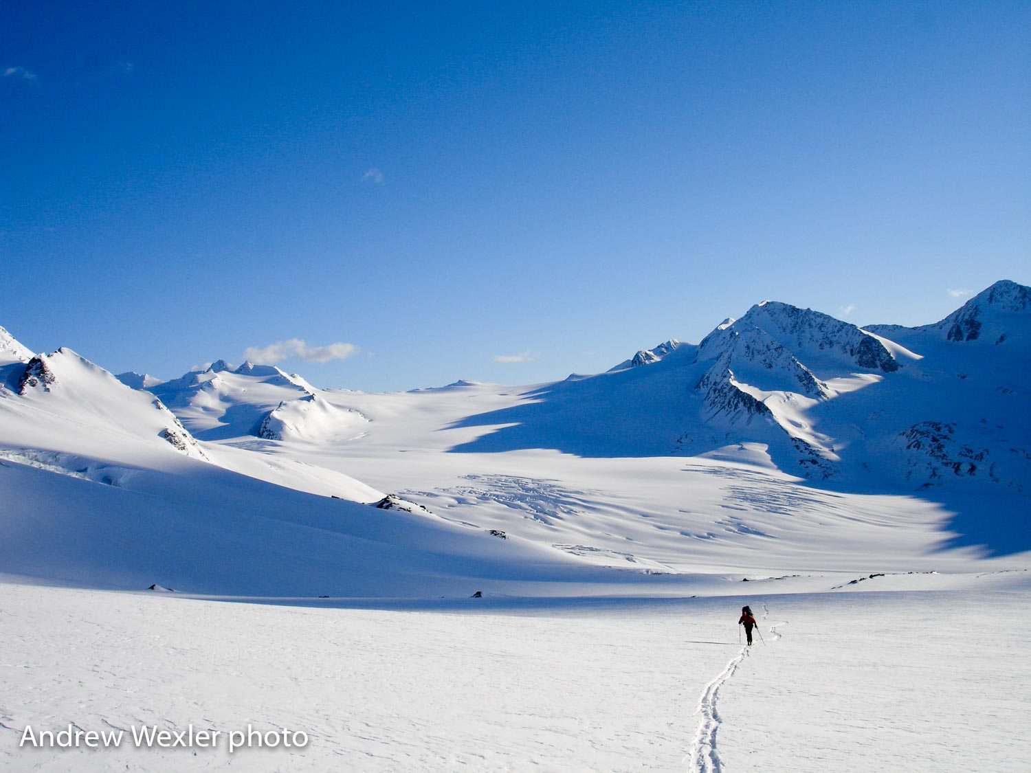 Crossing the Eagle Glacier on day two. This is on the popular Eklutna Traverse.