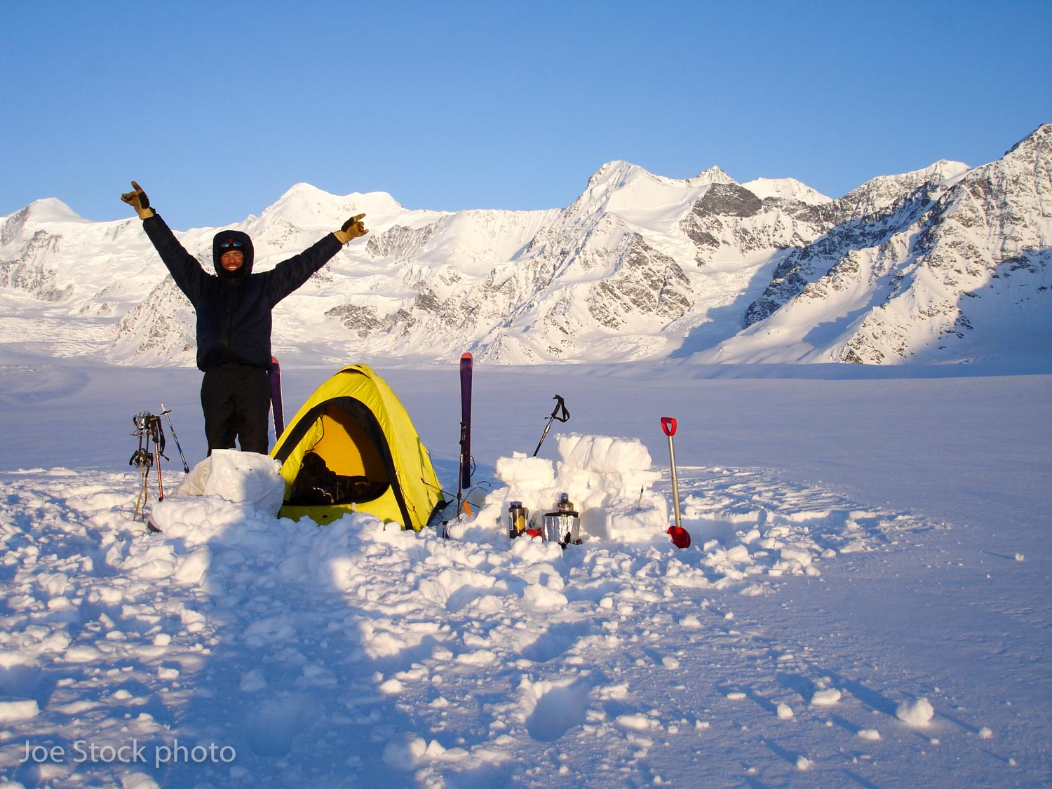 Joe halfway up the Marcus Baker Glacier. Above is Mount Marcus Baker, the highest summit in the Chugach.