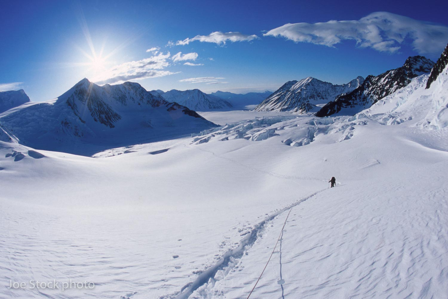 Skinning up the east branch of the Matanuska Glacier from the Scandinavian Peaks hut after the storm. From the Matanuska Glacier to Valdez took us five big days.