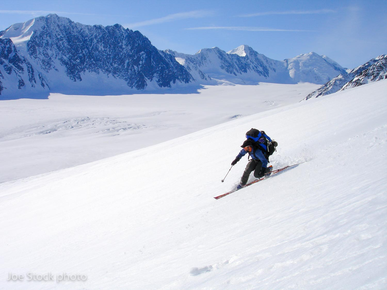 Wex skiing down to the Nelchina Glacier.