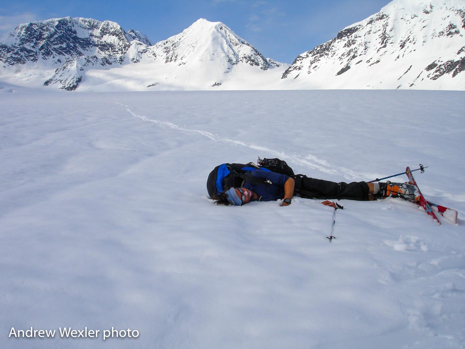 Joe crushed and unable to stay upright on the Valdez Glacier.