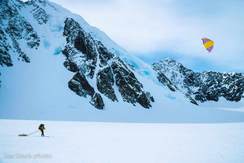 Kiting the Tazlina Glacier with a ten-square meter NASA-enhanced parawing kite.
