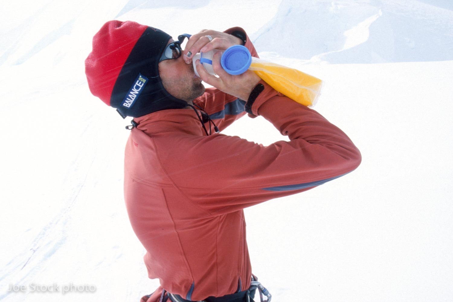 Disaster! Joe drinking strong Tang from a malodorous bottle. His regular water bottle cracked.