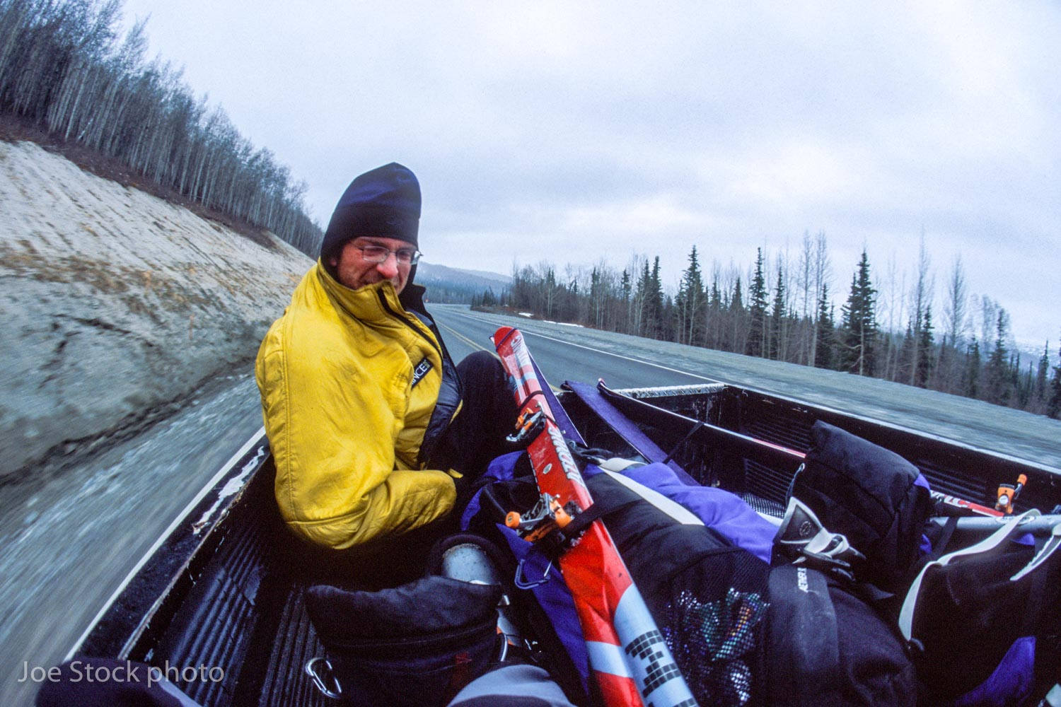 Dylan hitching to Anchorage from Caribou Creek on Day 18.