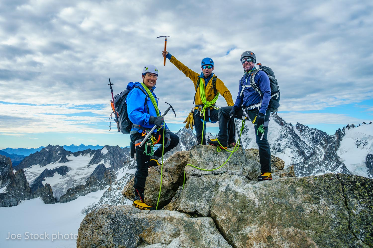 On the summit of Aiguille du Tour on the first Alps trip of the year with Abe Hsieh and Tom Collins. Abe and Tom are from Anchorage. This was part of a week-long  mountaineering course . We battled some weather, but tagged a bunch of summits, skills and wine drinking at the huts.