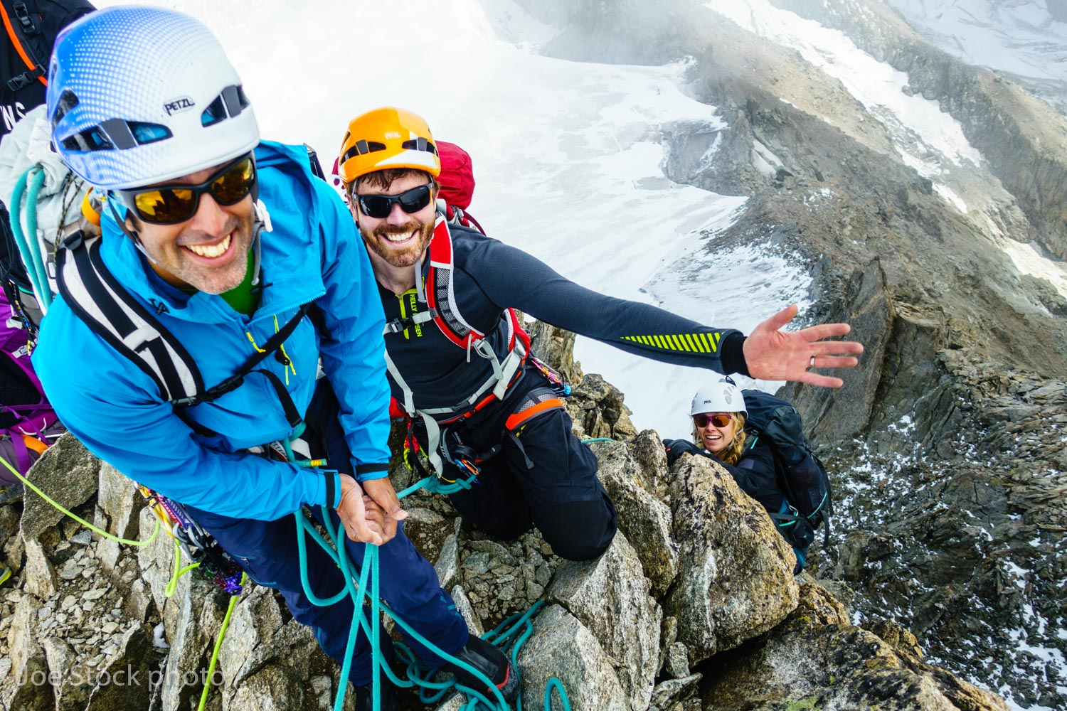 My co-worder, US IFMGA Mountain Guide Tico Allulee, with Luke Robertson and Hazel Robertson on the Aiguilles Marbrees near the Trient Refuge. This was our acclimatizing day for a Mont-Blanc week organized by Becca and Al who I skied with on a  2016 Denali Ski Base Camp .