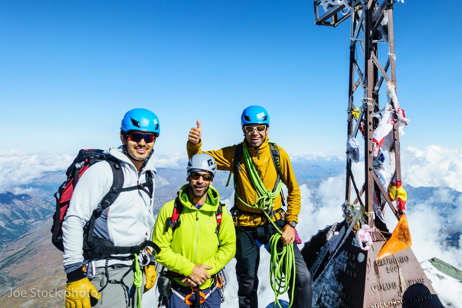 Sam Sidiqi, Andrew Wexler and Joe on the summit of Mont Viso. Sam is an Afghani real estate developer living in Kuwait. Sam and I skied together in near Anchorage in 2015. Sam had two guides because Sam's buddy Mike planned to join us on the Matterhorn. The Matterhorn has a required 1:1 ratio.