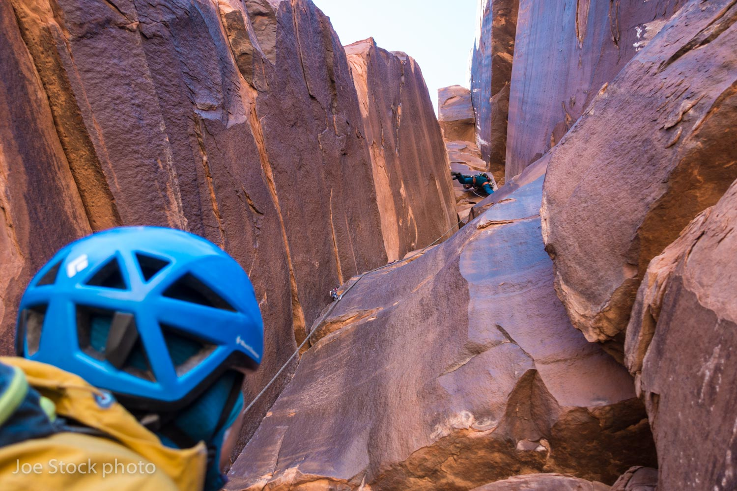 Our Anchorage buddy Elliot Gaddy leading the crux crotch-stretcher on Lonely Vigil, Lighthouse Tower, a five-pitch 5.10+.