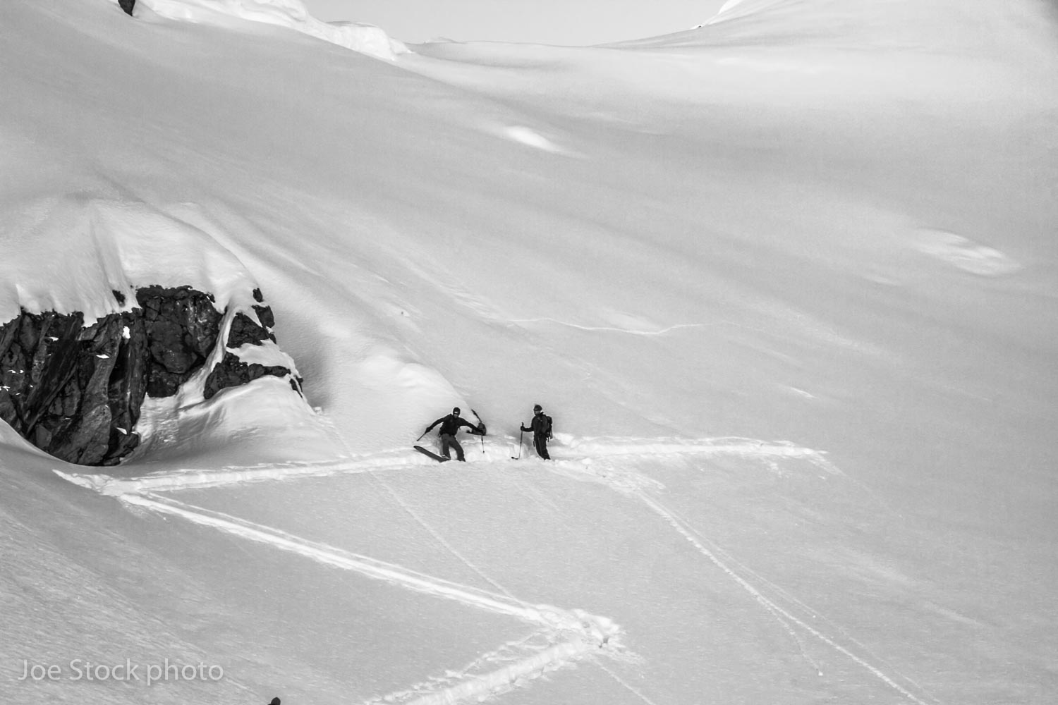 Eric Parsons and Jeff Conaway backing off in the Talkeetna Mountains, Alaska.