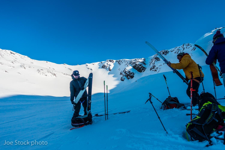 Are we far enough from the runout? Henry Munter, Karl Birkeland and Erika Birkeland in the Kenai Mountains, Alaska.