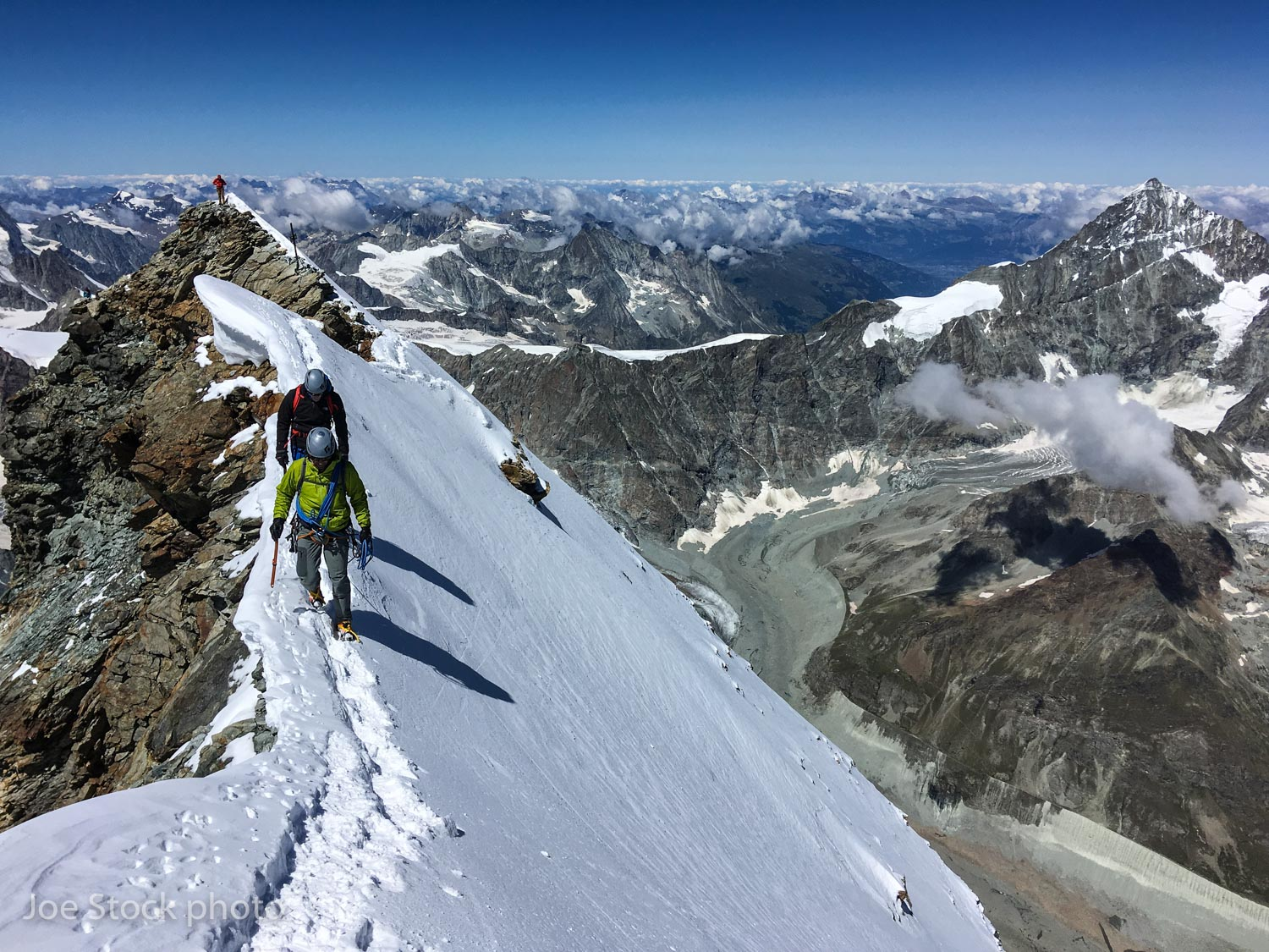 Andrew Wexler and Peter Gent returning from the Italian summit of the Matterhorn.