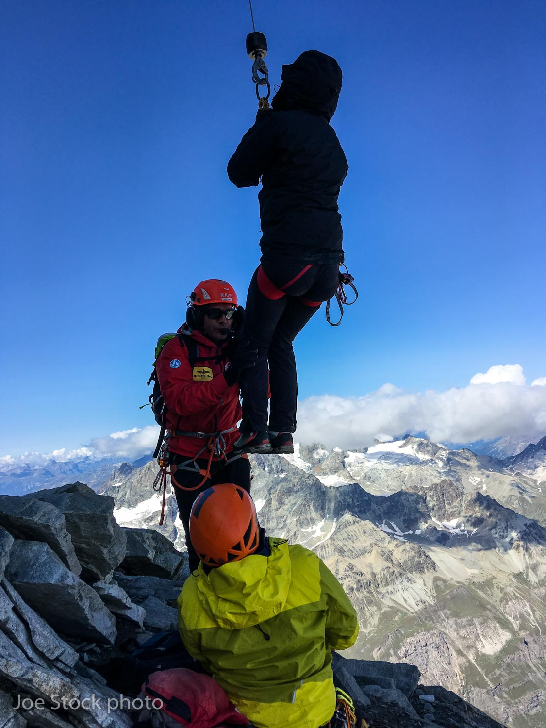 Steep and popular mountains breed accidents. Rescues occur daily on the Matterhorn. This woman fell 60 feet and stopped on a small ledge on the east face next to me. The helicopter arrived in 20 minutes. The Swiss rescue dude was a workmate of Andrew's at Canadian Mountain Holidays.