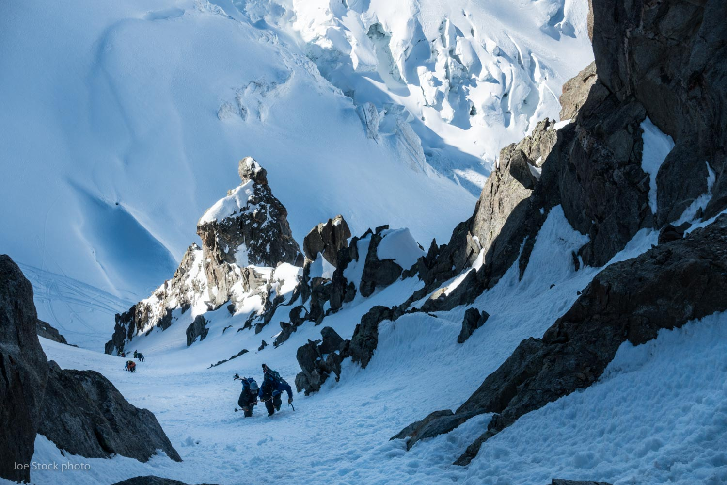 Eric Larson and Wily Forsyth climbing to the Breche Puiseux near Chamonix. I spent a most of March working with the Anchorage 212th pararescue team. We trained in Southcentral Alaska and honed skills in Chamonix. Fun guys!