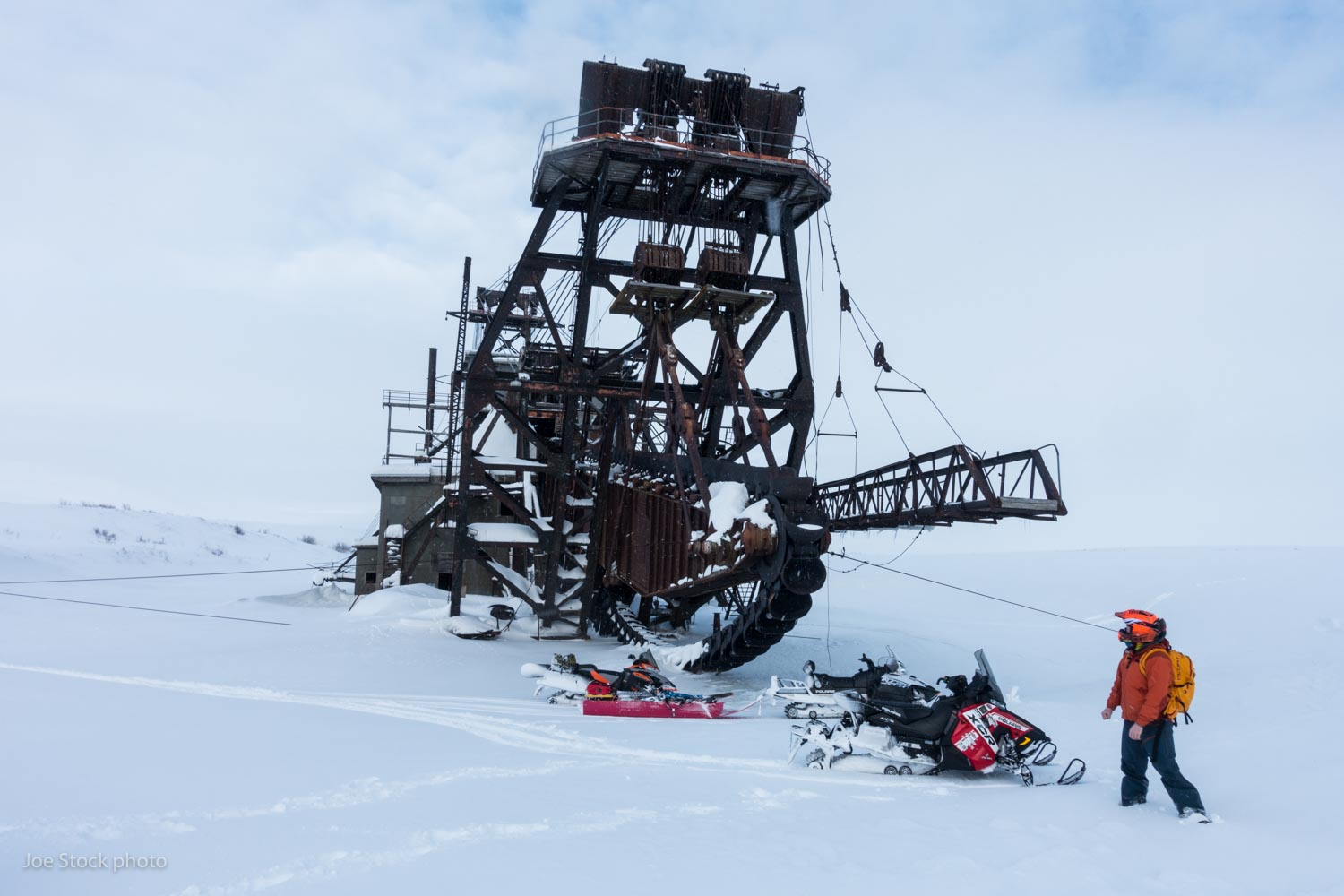 An abandoned dredge near Nome in western Alaska. I spent a week out here working with Ben Rowe, Chris Shannon and Sean Jones, helping them set up their ski guiding operation in the beautiful Kigluaik Mountains. These guys have the local knowledge and all the Alaska gear: snowmachines, airplanes and helicopters. A storm of the decade kept us from the summits, but not from learning a ton and having a blast.
