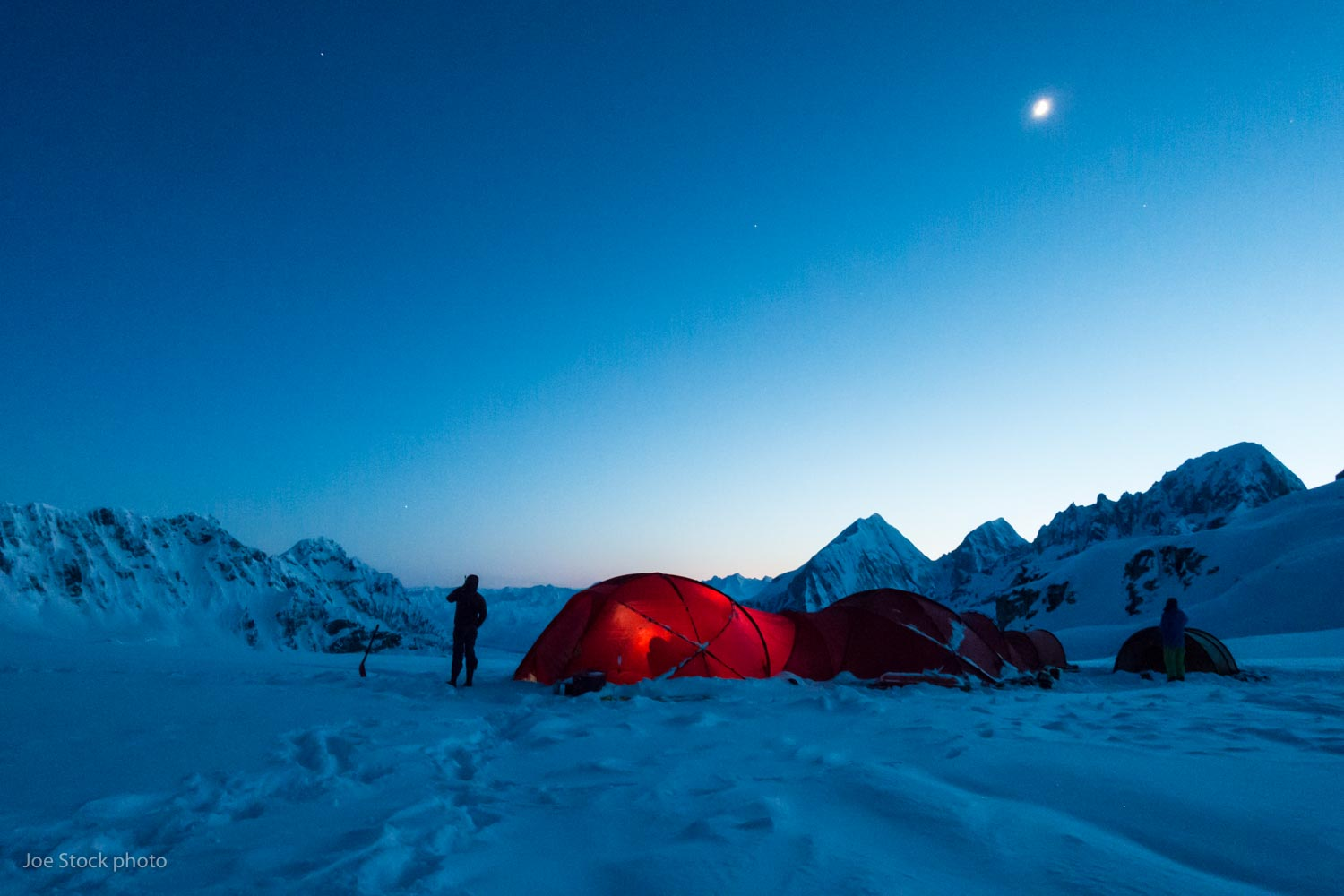 Denali Ski Base Camp  in the Alaska Range. Two trips and two weeks in these magic mountains. Our home is two connected Hilleberg Atlas tents.