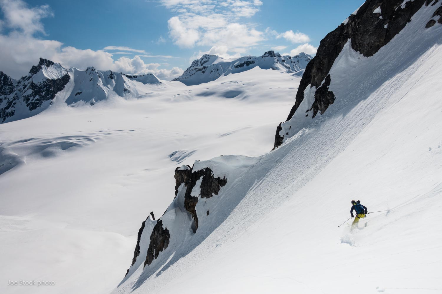Jeff Colegrave in the Alaska Range.  Jeff and I skied together in 2015 . Jeff liked it so much that he brought his regular guide, Armin Fisher, and a crew to come back this year. We nailed it again.