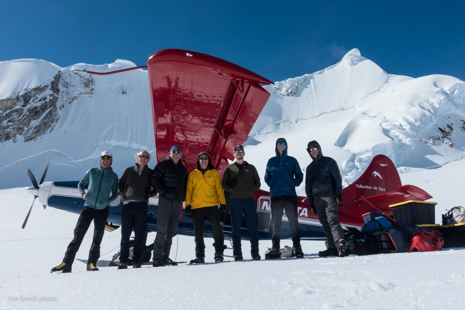 Joe, pilot Paul Roderick, James Kesterson, Paul Muscat, Matt Sanborn, Glenn Wilson and Elliot Gaddy at our landing strip on the Yentna Glacier.  Glenn, James, Paul and I have been going on trips together for the past 22 years: Denali, Mount Baker, Mount Logan, Mount Marcus Baker, Iliamna Volcano, Bolivia, Ecuador, Peru, Talkeetna Mountains, Chigmit Mountains, Arctic Refuge and now the Yentna Glacier. Matt is a new recruit to the team, a workmate of Paul's, and Elliot is my business partner at  Alaska Guide Collective .