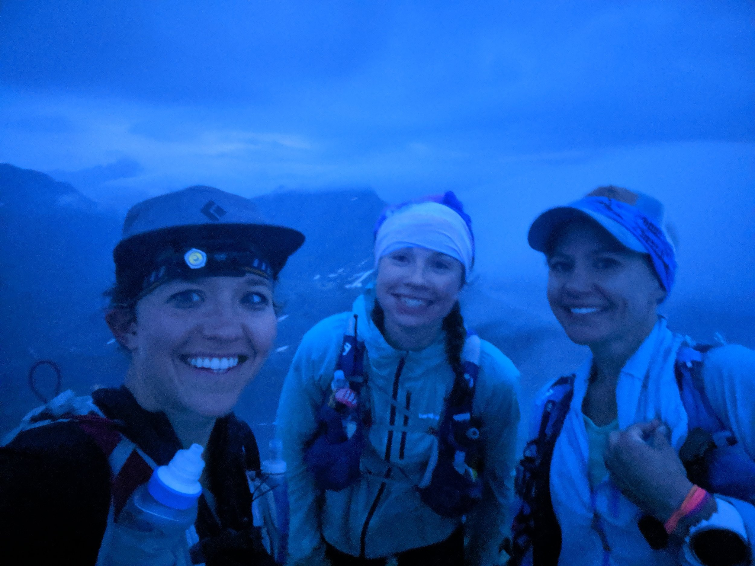 "Julianne, Abby and April on Williwaw at 4am. ""Finally clearing!"""