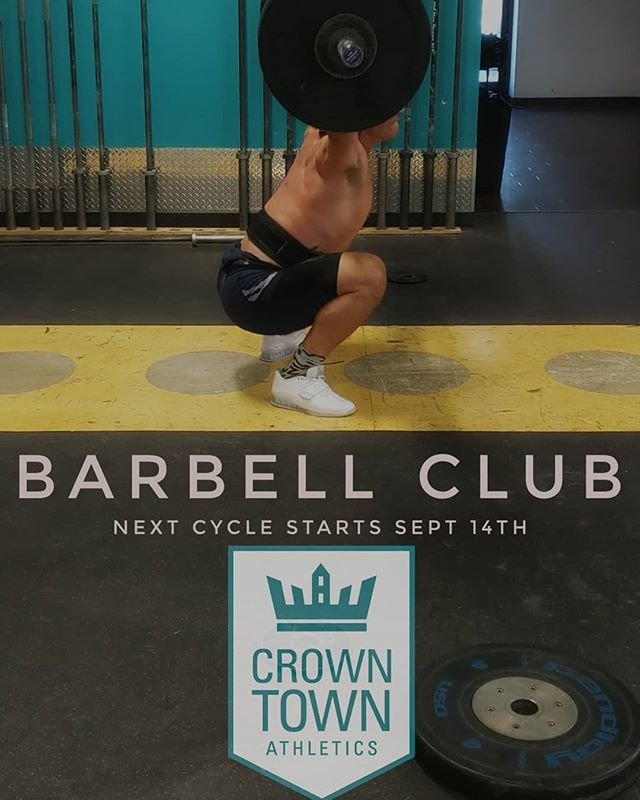 Crown Town is establishing a barbell club that will meet Monday, Wednesday, and Friday at 4:30 pm (with an optional Saturday session). The barbell club will operate on 12-16 week cycles each culminating in a competition. The first cycle of barbell club will begin September 14th and end in December with the Krampus Kilofest held by our friends at @crossfit_hickory. This program is included in a Crown Town Membership at no additional cost. Please talk to @sherrillcoaching if you are interested. . . . #olympiclifting #crossfit #fitness #charlotte #uptown #elizabeth #plazamidwood #myerspark #cltfitlife
